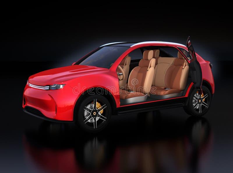 Μεταλλικό κόκκινο ηλεκτρικό εσωτερικό SUV χωρίς μπροστινή πόρτα στο αντανακλαστικό έδαφος ελεύθερη απεικόνιση δικαιώματος