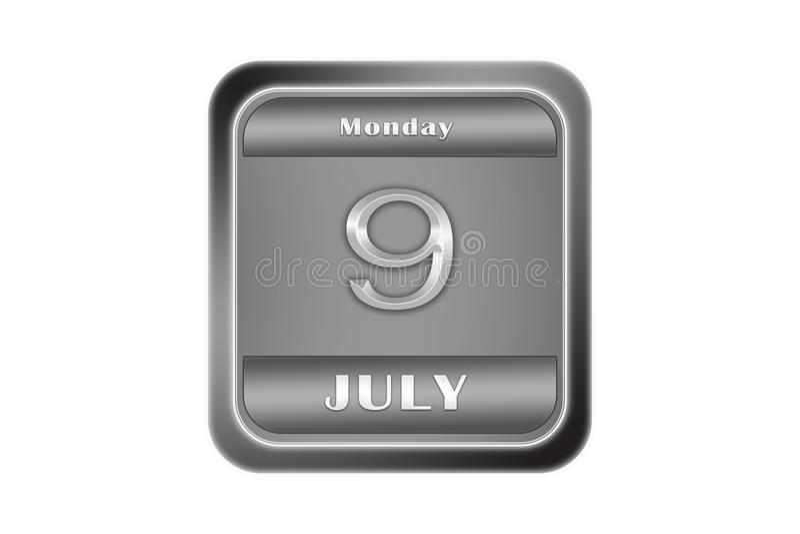 Μεταλλικό πιάτο με στις 9 Ιουλίου ημερομηνίας, Δευτέρα ελεύθερη απεικόνιση δικαιώματος