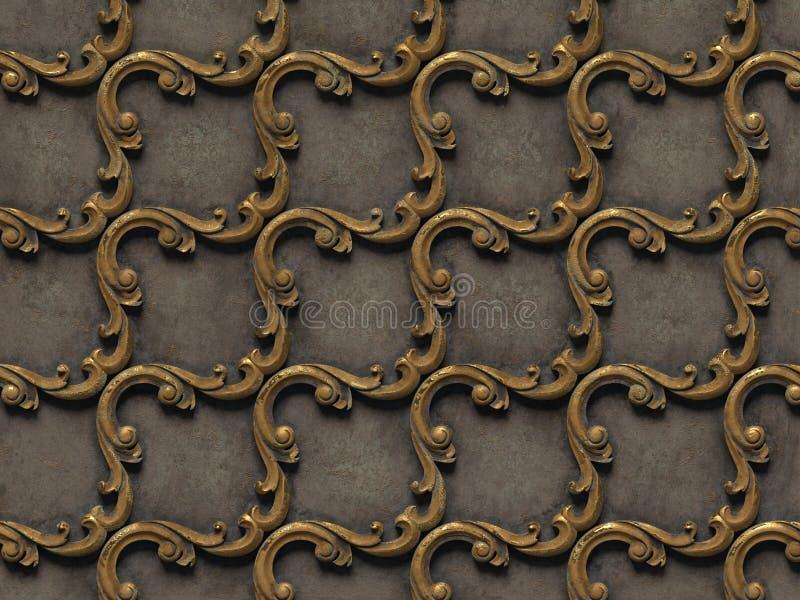 Μεταλλικό σχέδιο bas-ανακούφιση των άνευ ραφής συστάσεων, που αποτελείται από τα διάφορα στοιχεία των αρχιτεκτονικών διακοσμήσεων διανυσματική απεικόνιση