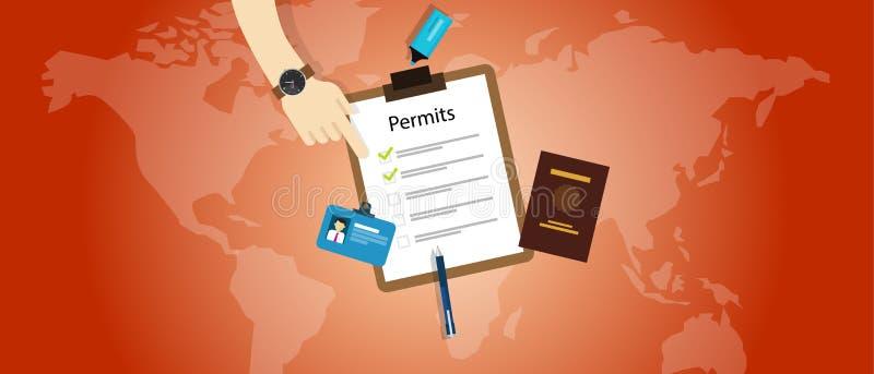 Μετανάστευση εφαρμογής διαβατηρίων αδειών ταξιδιού εργασίας διανυσματική απεικόνιση