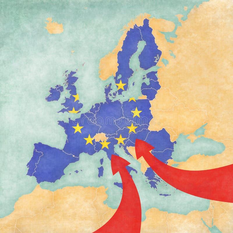 Μετανάστευση στην Ευρώπη ελεύθερη απεικόνιση δικαιώματος