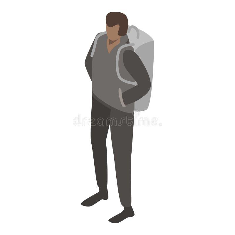 Μετανάστης ατόμων με το εικονίδιο σακιδίων πλάτης, isometric ύφος διανυσματική απεικόνιση