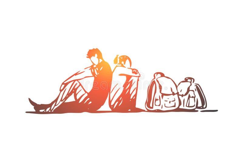 Μετανάστης, κρίση, οικογένεια, παράνομος, έννοια τσαντών Συρμένο χέρι απομονωμένο διάνυσμα διανυσματική απεικόνιση