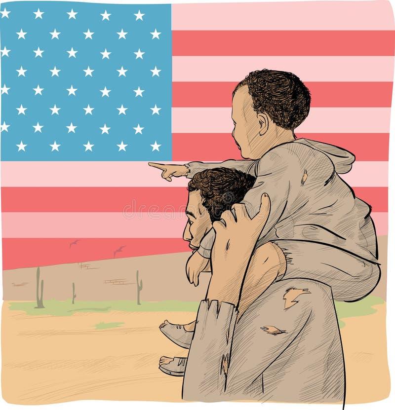 Μετανάστης πατέρων και γιων διανυσματική απεικόνιση