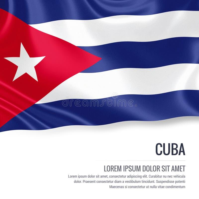 Μεταξωτή σημαία της Κούβας που κυματίζει σε ένα απομονωμένο άσπρο υπόβαθρο με την άσπρη περιοχή κειμένων για το μήνυμα αναφορών σ διανυσματική απεικόνιση