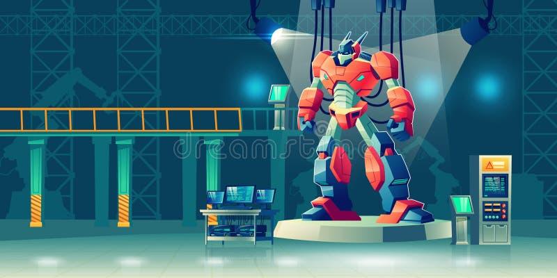 Μετασχηματιστής ρομπότ μάχης στο εργαστήριο επιστήμης διανυσματική απεικόνιση