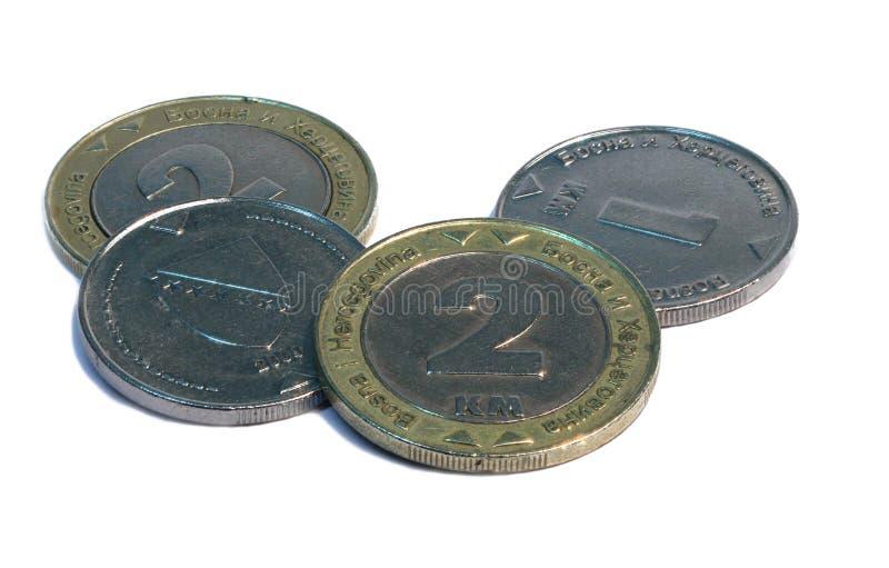 Μετατρέψιμα νομίσματα σημαδιών Bonsnian, άσπρο υπόβαθρο στοκ φωτογραφίες