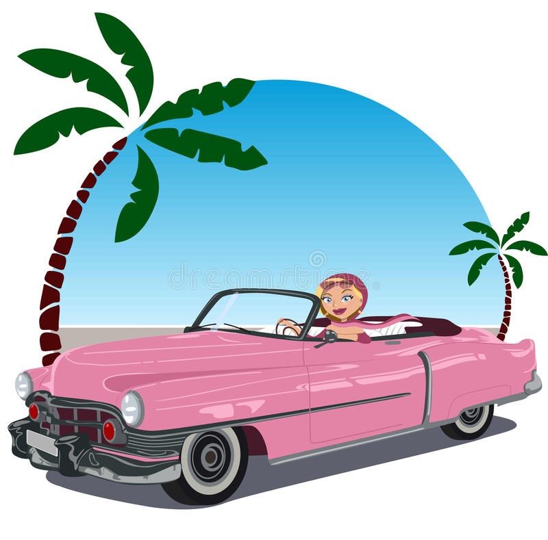 μετατρέψιμο ροζ κοριτσιών 50 αυτοκινήτων απεικόνιση αποθεμάτων