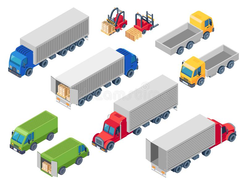 Μεταφέροντας με φορτηγό λογιστικά isometric φορτηγά Φορτηγό φόρτωσης, φορτηγό μεταφορών εμπορευματοκιβωτίων φορτίου και φορτωτής  ελεύθερη απεικόνιση δικαιώματος