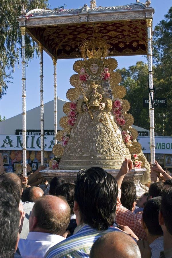 Μεταφορά γύρω από τη Virgin της EL Rocio στοκ εικόνες