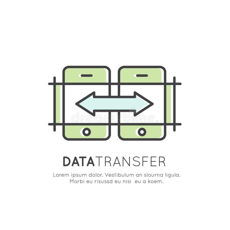 Μεταφορά δεδομένων, διαδικασία συγχρονισμού, σύνδεση συσκευών, φιλοξενία σύννεφων, ικανοποιημένη ανταλλαγή απεικόνιση αποθεμάτων