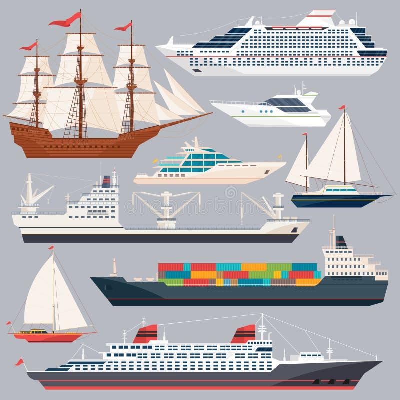 Μεταφορά θάλασσας Διανυσματικές απεικονίσεις των σκαφών και των διαφορετικών βαρκών Επίπεδες εικόνες ύφους απεικόνιση αποθεμάτων