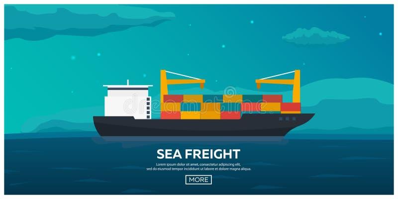 Μεταφορά θάλασσας λογιστική Φορτίο θάλασσας Θαλάσσια ναυτιλία Εμπορικό ναυτικό σκάφος λιμένων του Αμβούργο φορτίου δραστηριοτήτων διανυσματική απεικόνιση
