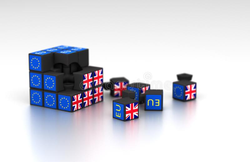 Μεταφορά κύβων Brexit για fiasco Brexit απεικόνιση αποθεμάτων
