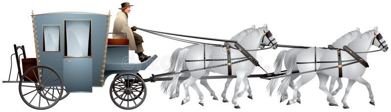 Μεταφορά που τραβιέται κοντά για τα άσπρα άλογα διανυσματική απεικόνιση
