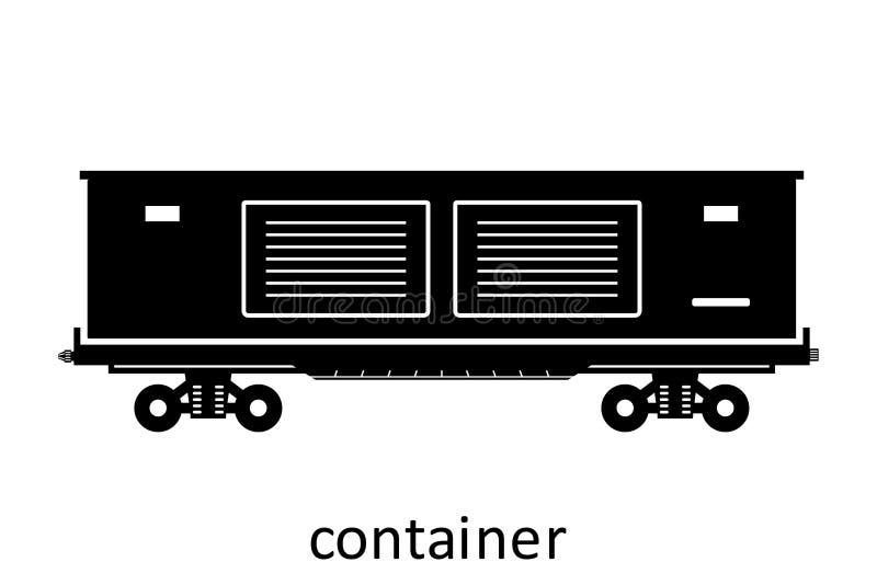 μεταφορά σιδηροδρόμων boxcar με το όνομα Φορτίο φορτίου που διαβιβάζει τη μεταφορά Διανυσματική πλάγια όψη απεικόνισης που απομον απεικόνιση αποθεμάτων