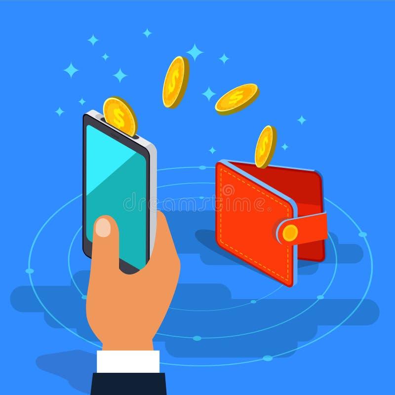 Μεταφορά χρημάτων από το πορτοφόλι στο κινητό τηλέφωνο στο isometric διανυσματικό de απεικόνιση αποθεμάτων