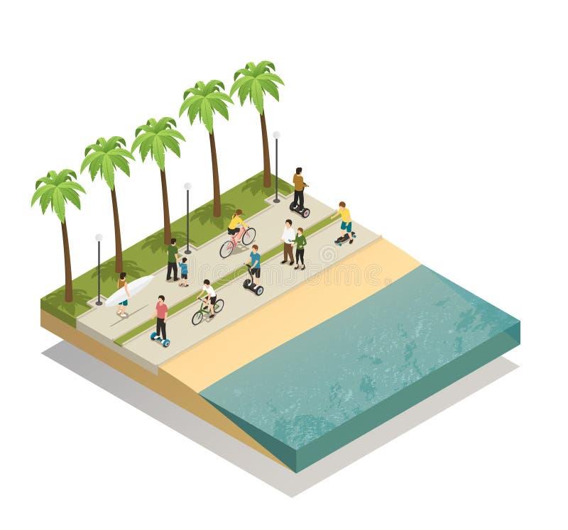 Μεταφορά Eco στη νότια παραλία απεικόνιση αποθεμάτων