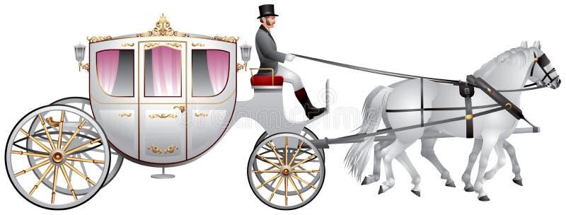 Μεταφορά, horse-drawn λευκό γαμήλιο πλήρωμα ελεύθερη απεικόνιση δικαιώματος