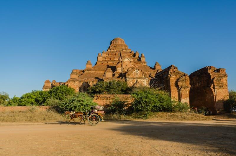 Μεταφορές Hourse με το ναό Dhammayangyi στοκ εικόνες