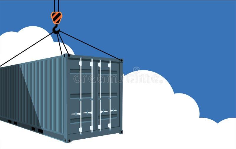 Μεταφορικό κιβώτιο στο μπλε ουρανό απεικόνιση αποθεμάτων