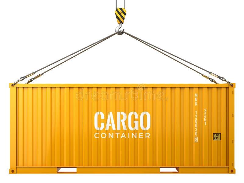 Μεταφορικό κιβώτιο φορτίου φορτίου που απομονώνεται στο άσπρο υπόβαθρο απεικόνιση αποθεμάτων