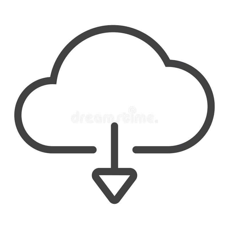 Μεταφορτώστε από το εικονίδιο γραμμών σύννεφων, Ιστός και κινητός, απεικόνιση αποθεμάτων