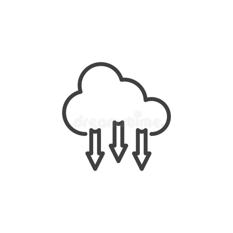 Μεταφορτώστε από το εικονίδιο γραμμών σύννεφων ελεύθερη απεικόνιση δικαιώματος