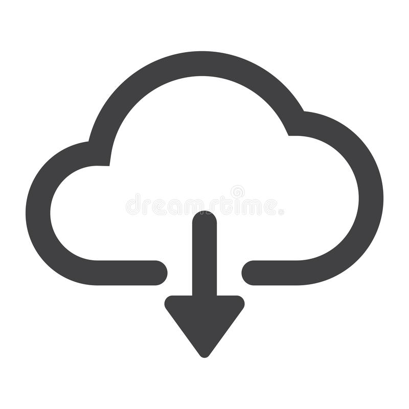 Μεταφορτώστε από το εικονίδιο σύννεφων glyph, Ιστός και κινητός απεικόνιση αποθεμάτων