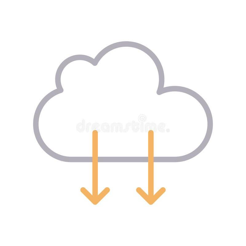 Μεταφορτώστε διανυσματικό εικονίδιο lline χρώματος σύννεφων το λεπτό ελεύθερη απεικόνιση δικαιώματος