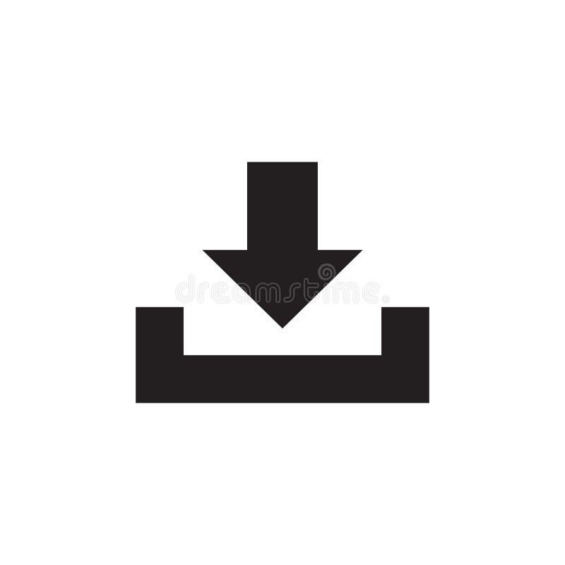 Μεταφορτώστε - μαύρο εικονίδιο στην άσπρη διανυσματική απεικόνιση υποβάθρου για ιστοσελίδας ή την κινητή εφαρμογή Σημάδι έννοιας  διανυσματική απεικόνιση