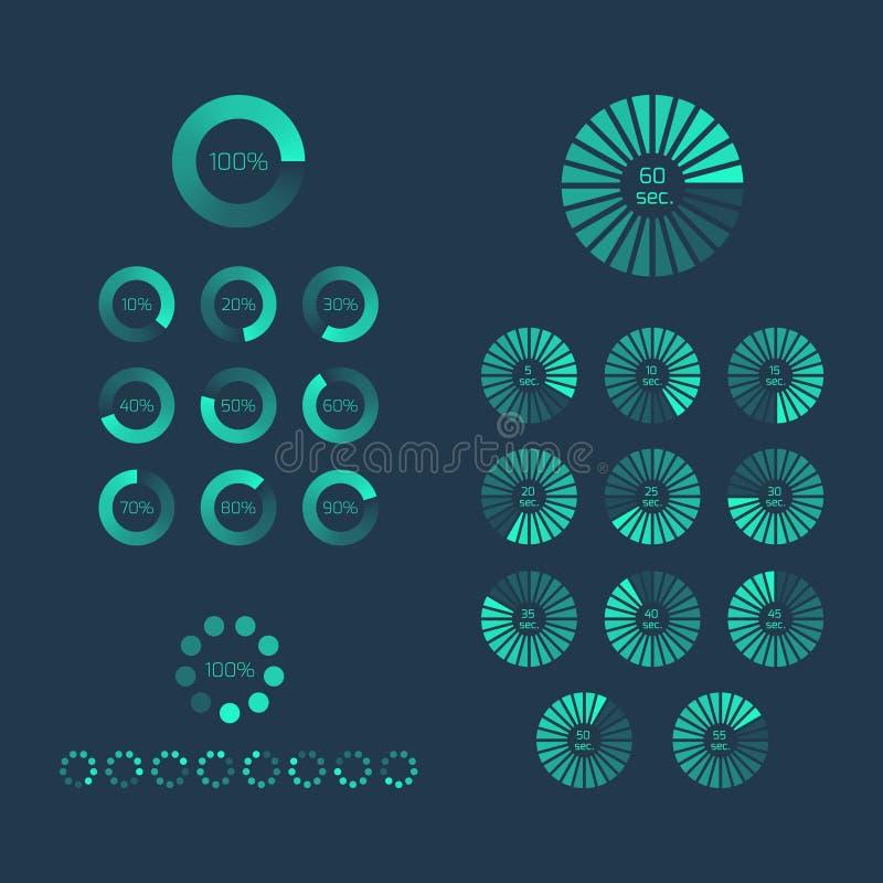 Μεταφορτώστε το σύνολο δεικτών προόδου Φορτώστε το εικονίδιο και το σημάδι, φραγμός eleme διανυσματική απεικόνιση