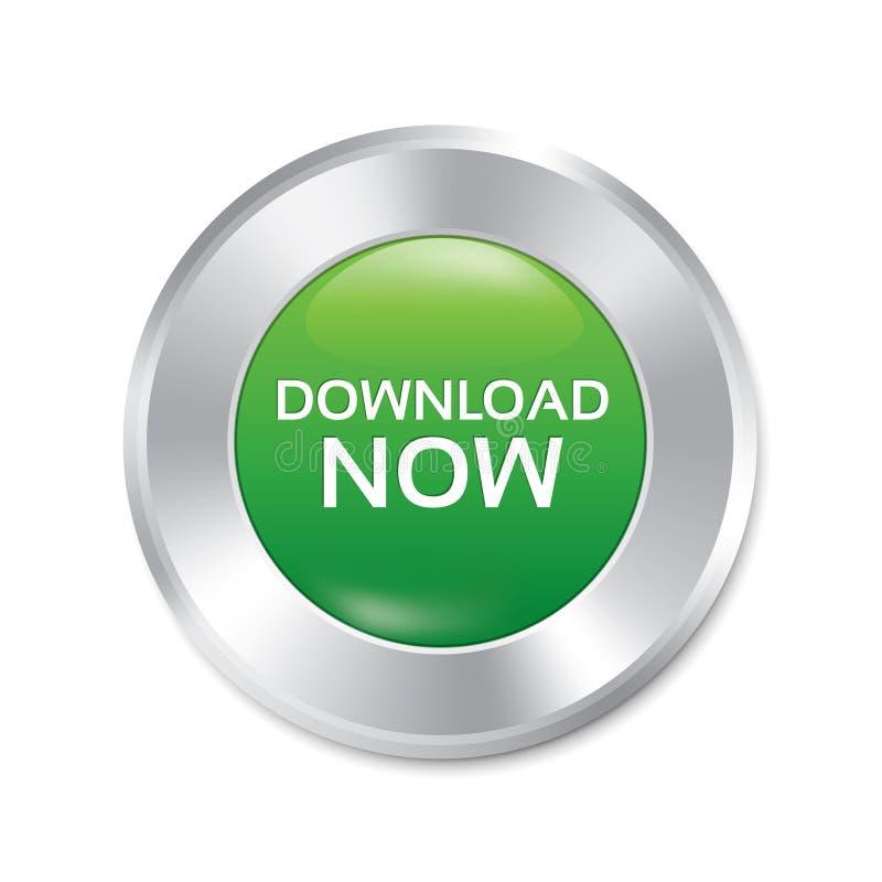 Μεταφορτώστε τώρα το κουμπί. Πράσινη στρογγυλή αυτοκόλλητη ετικέττα. διανυσματική απεικόνιση