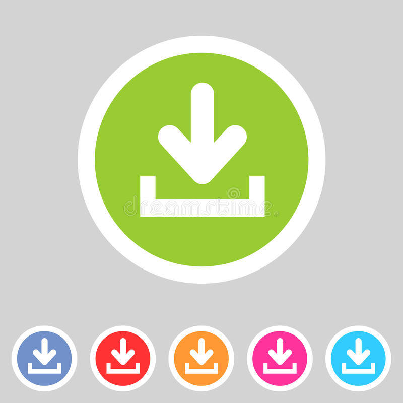 Μεταφορτώστε φορτώνει το επίπεδο εικονίδιο, σύνολο κουμπιών, σύμβολο φορτίων απεικόνιση αποθεμάτων