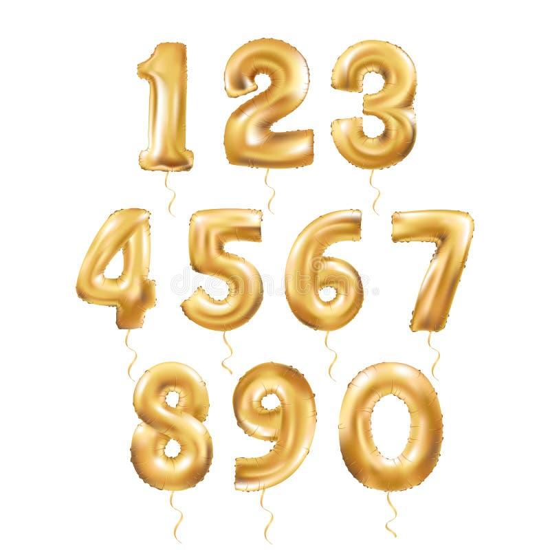 Μεταλλικά χρυσά μπαλόνια 123 επιστολών διανυσματική απεικόνιση