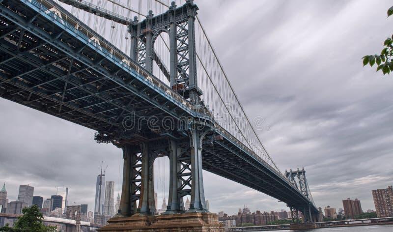 Μεταλλική δομή της γέφυρας του Μανχάταν, πόλη της Νέας Υόρκης στοκ εικόνα
