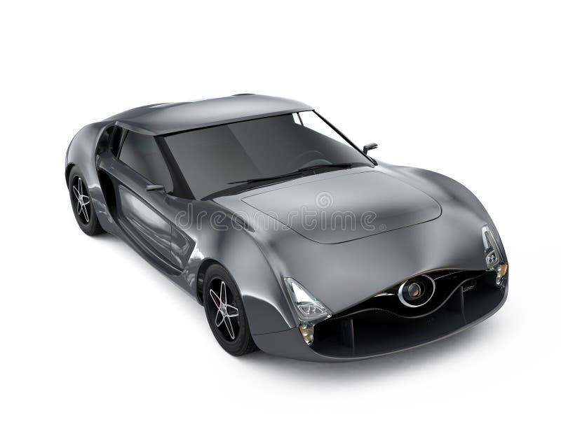 Μεταλλικό γκρίζο αθλητικό αυτοκίνητο στο γκρίζο υπόβαθρο Αρχικό σχέδιο ελεύθερη απεικόνιση δικαιώματος