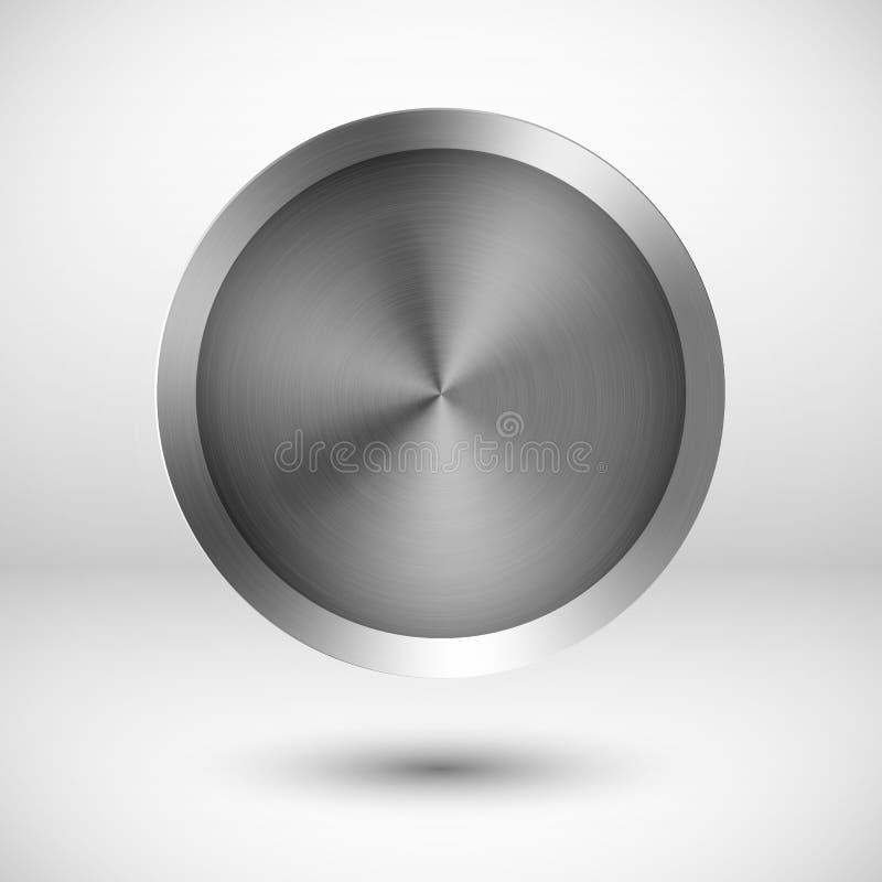 Μεταλλικό διανυσματικό κουμπί χρωμίου απεικόνιση αποθεμάτων