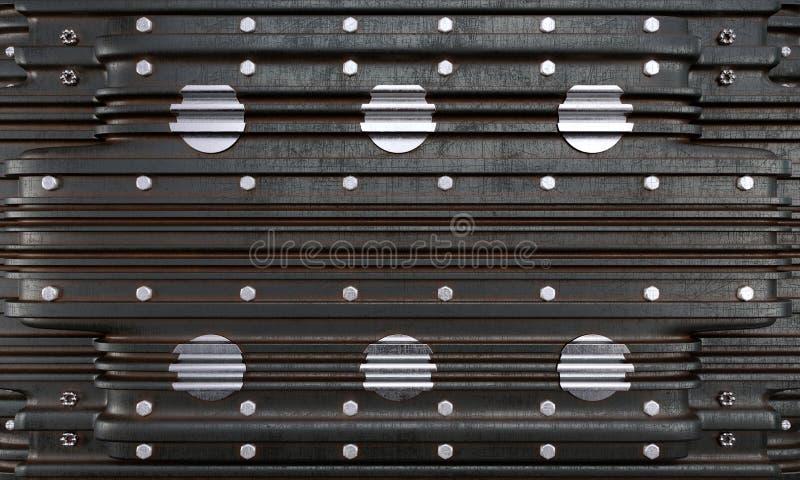Μεταλλικό πιάτο με το βιομηχανικό υπόβαθρο φωτογραφιών έννοιας βιδών στοκ φωτογραφία με δικαίωμα ελεύθερης χρήσης