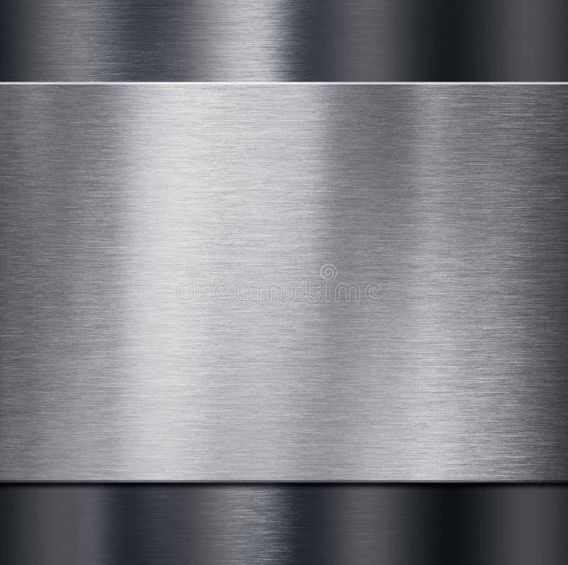 Μεταλλικό πιάτο πέρα από τη σκοτεινή μεταλλική τρισδιάστατη απεικόνιση υποβάθρου στοκ εικόνα