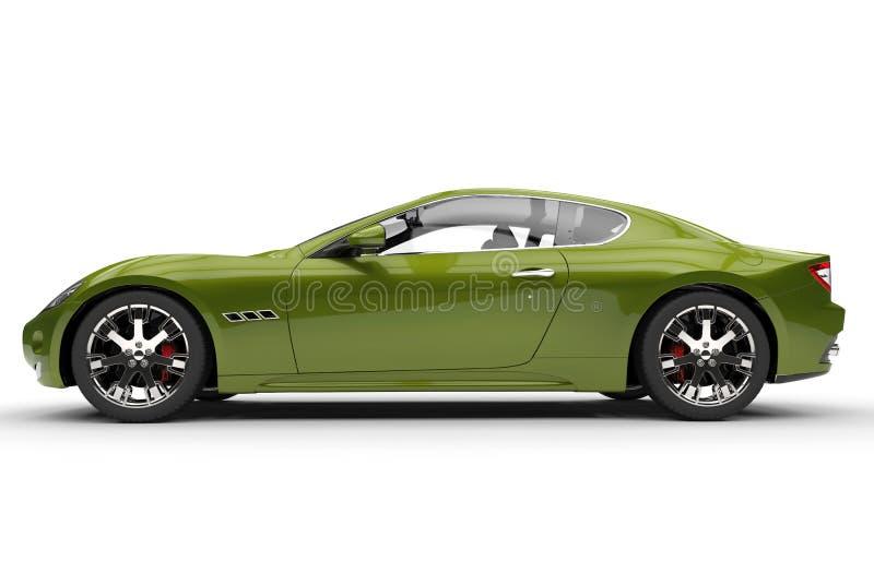 Μεταλλικό πράσινο σύγχρονο γρήγορο αυτοκίνητο ελεύθερη απεικόνιση δικαιώματος