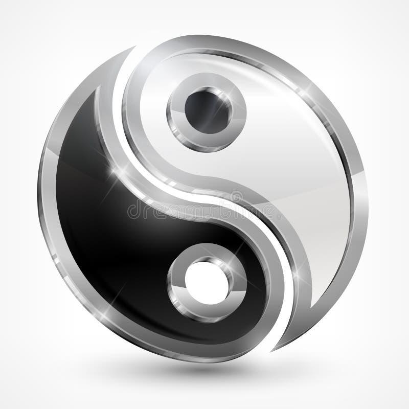 Μεταλλικό σύμβολο Yin yang διανυσματική απεικόνιση