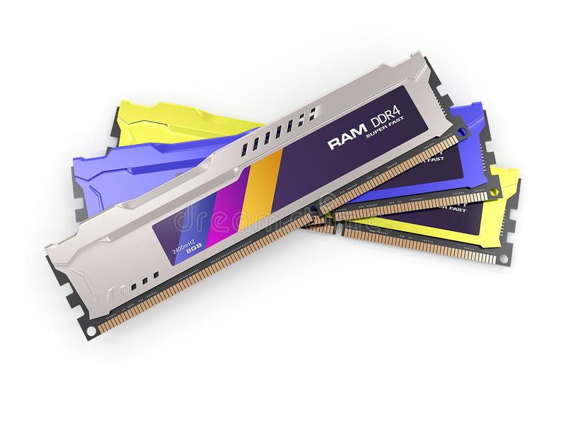 Μεταλλικό χρώμα ενοτήτων RAM μνήμης τυχαίας προσπέλασης που απομονώνεται στο άσπρο υπόβαθρο τρισδιάστατος δώστε απεικόνιση αποθεμάτων