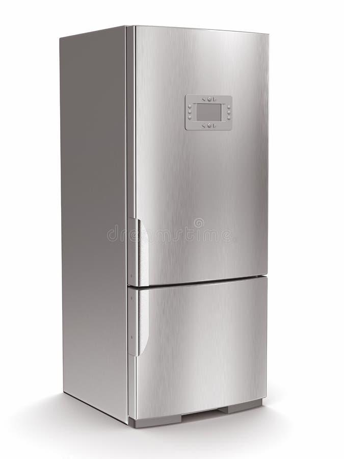 Μεταλλικό ψυγείο στο άσπρο υπόβαθρο. απεικόνιση αποθεμάτων
