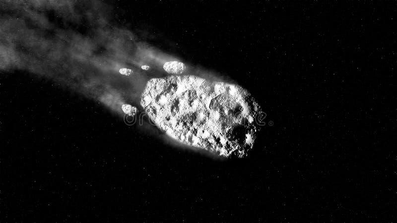 Μετεωρίτες ή κομήτες πέφτουν σε έναστρο ουρανό στοκ φωτογραφίες
