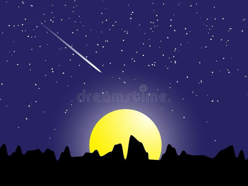 Μετεωρίτης σκηνής νύχτας με τα αστέρια και την ελαφριά διανυσματική απεικόνιση φεγγαριών διανυσματική απεικόνιση