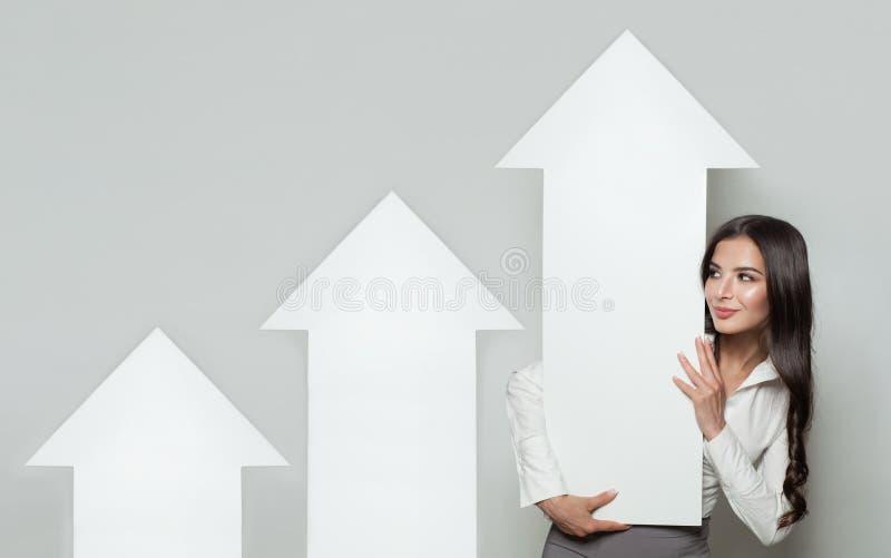 Μετοχές επάνω, επιχειρησιακή επιτυχία και έννοια κέρδους στοκ εικόνα