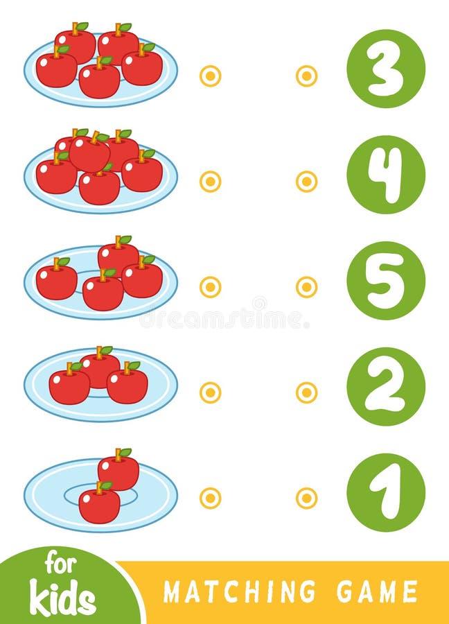 Ταιριάζοντας με παιχνίδι για τα παιδιά Μετρήστε πόσα μήλα και επιλέξτε το σωστό αριθμό ελεύθερη απεικόνιση δικαιώματος