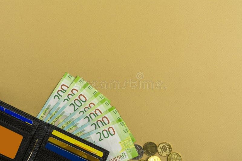 μετρητά Ρωσικά τραπεζογραμμάτια 200 ρουβλιών, ενός πορτοφολιού ατόμων ` s και διάφορων νομισμάτων στοκ εικόνες με δικαίωμα ελεύθερης χρήσης