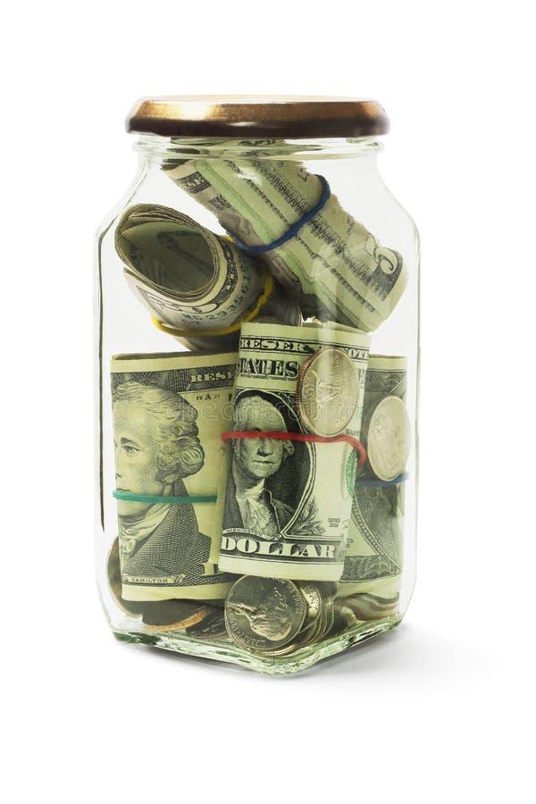 Μετρητά στο βάζο γυαλιού στοκ φωτογραφία με δικαίωμα ελεύθερης χρήσης